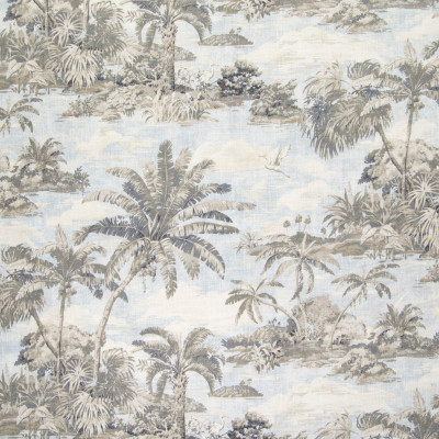 B6215 Sunsplash Fabric: D65, TROPICAL BEACH PRINT, SCENERY PRINT, PALM TREE PRINT, BEACH SCENE PRINT