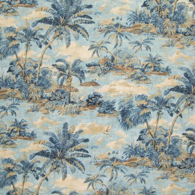 B6251 Riptide Fabric: D65, OCEAN BLUE TROPICAL SCENE, OCEAN BLUE BEACH SCENE, TOMMY BAHAMA PRINT, COTTON PRINT