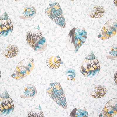 B6262 Caribbean Blue Fabric: D65, BEACH PRINT, BEACHY PRINT, COTTON PRINT, TROPICAL PRINT, COASTAL PRINT