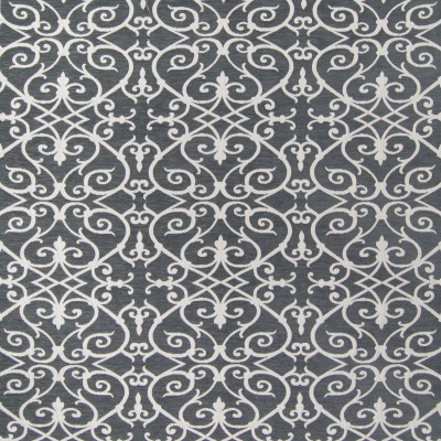 B6315 Smoke Fabric: D66, DURABLE, CHENILLE, CHENILLE SCROLL, GRAY AND WHITE, SCROLL PATTERN, CHARCOAL GRAY, GREY, CHARCOAL GREY