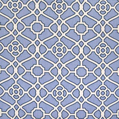 B6340 Lagoon Fabric: D67, MADE IN USA, 100% COTTON, LATTICE PRINT, BLUE AND WHITE, LARGE SCALE LATTICE, LARGE SCALE PATTERN, LARGE PATTERN, BLUE AND WHITE PRINT, 100% COTTON PRINT, COTTON PRINT