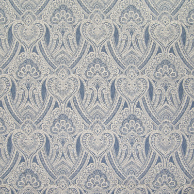 B6343 Harbor Fabric: D67, DURABLE, LARGE SCALE MEDALLION, HEARTS, MEDALLION JACQUARD, LARGE REPEAT, BLUE AND BEIGE, BLUE MEDALLION, COTTON BLEND