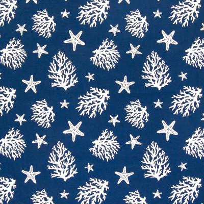 B6352 Marine Fabric: D67, DURABLE, COTTON, BEACK, CORAL, TROPICAL, NAUTICAL, BLUE AND WHITE NAUTICAL, COSTAL, STARFISH, OCEAN, COTTON BLEND