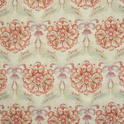 B6646 Desert Fabric: D72, LARGE SCALE FLORAL PRINT, LARGE SCALE SUZANI PRINT, COTTON PRINT, LARGE SCALE SCROLL PRINT, ORANGE, FIERY ORANGE, FIERY RED