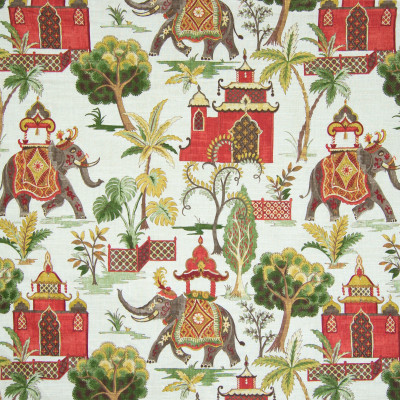 B6678 Verde Fabric: D73, ELEPHANT, ANIMAL, ETHNIC PRINT, ANIMAL PRINT, ELEPHANT PRINT, INDIAN PRINT, ASIAN PRINT, RED ELEPHANT PRINT, RED ASIAN PRINT