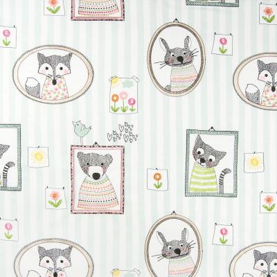 B6796 Pastel Fabric: BLUE AND WHITE STRIPE, CHILDRENS, NURSERY, COTTON PRINT, BUNNY, KITTY, LITTLE GIRLS ROOM