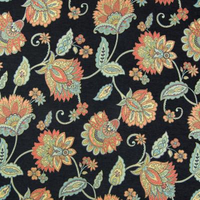 B6821 Noir Fabric: BLACK FLORAL, CHENILLE FLORAL, MULTI COLOR FLORAL, LARGE SCALE FLORAL, WOVEN FLORAL