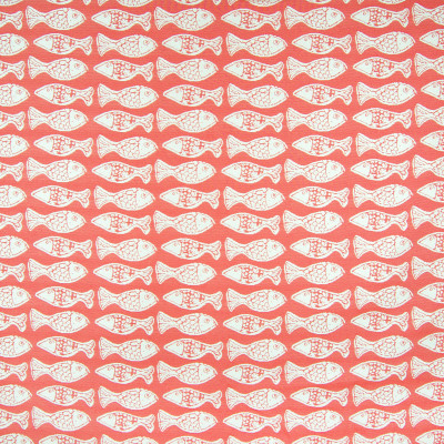 B6860 Persimmon Fabric: D79, OUTDOOR, RED FISH, SCHOOL OF FISH, RED ANIMAL, BEACH, TROPICAL, OUTDOOR FABRIC