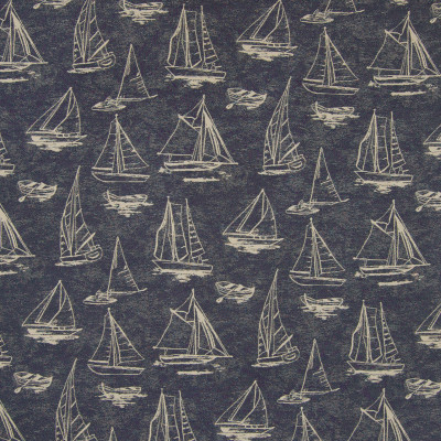 B6866 Navy Fabric: D79, OUTDOOR, SAILBOAT, NOVELTY BOATS, LANDSCAPE, OUTDOOR SEASCAPE, MARITIME, BOAT, SAILING