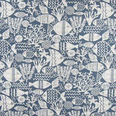 B6867 Denim Fabric: D79, OUTDOOR, OUTDOOR CORAL, FISH, TROPICAL FISH, UNDERWATER SCENE, NOVELTY SCENE