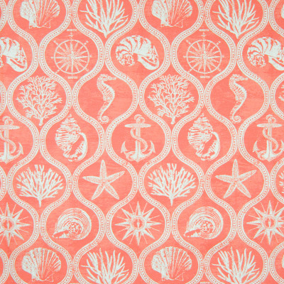B6882 Coral Red Fabric: D79, OUTDOOR, OUTDOOR CORAL, FISH, TROPICAL FISH, UNDERWATER SCENE, NOVELTY SCENE, OGEE, MEDALLION, LATTICE, STARFISH, SEASHELL, CORAL