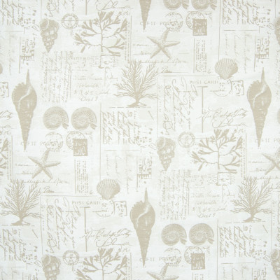 B6891 Khaki Fabric: D79, OUTDOOR, SCRIPT, SEASHELL, STAMPS, NOVELTY, POSTCARDS, CORAL