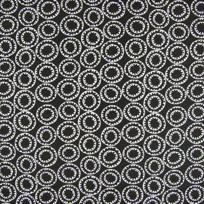 B6940 Midnight Fabric: D80, OUTDOOR, BLACK AND WHITE SUZANI, OUTDOOR SUZANI, PERFORMANCE SUZANI, CIRCLE,WOVEN