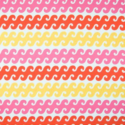 B6957 Coral Sunshine Fabric: D80, OUTDOOR, OCEAN PRINT, BEACH PRINT, WAVES, OCEAN CURRENT, PINK, ORANGE