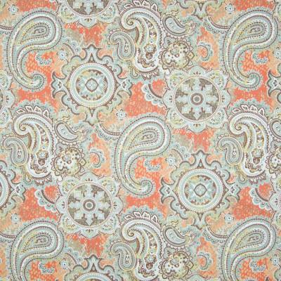 B7239 Papaya Fabric: D86, LARGE SCALE PAISLEY PRINT, COTTON PRINT, SUZANI PRINT, ORANGE PRINT, ORANGE AND TEAL PRINT