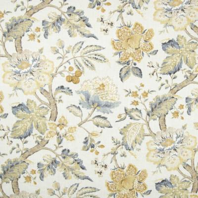 B7244 Mist Fabric: D86, JACOBEAN FLORAL PRINT, LINEN PRINT, FRUIT PRINT, FLORAL PRINT, YELLOW PRINT, GOLDEN PRINT