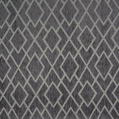 B7498 Charcoal Fabric: E66,E39, D93, GRAY DIAMOND, GRAY GEOMETRIC, MEDIUM SCALE GEOMETRIC, MEDIUM SCALE DIAMOND, CHENILLE DIAMOND, METALLIC DIAMOND,WOVEN