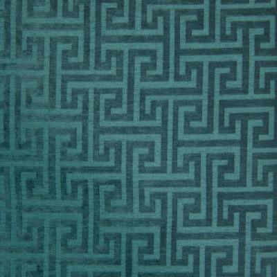 B7607 Teal Fabric: D95, WOVEN GEOMETRIC, CHENILLE GEOMETRIC, SQUARE GEOMETRIC, GREEK KEY GEOMETRIC, TURQUOISE, TEAL, DARK TEAL, DARK TURQUOISE