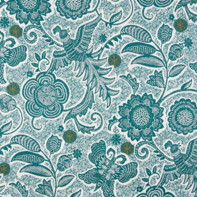 B7870 Teal Fabric: E02, TEAL, NOVELTY, BIRD, BUTTERFLY, ANIMAL, FLORAL, PERFORMANCE FABRICS, REVOLUTION PERFORMANCE FABRICS, REVOLUTION FABRICS, BLEACH CLEANABLE, STAIN RESISTANT, FOLIAGE