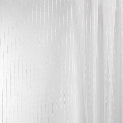 B7934 Snow Fabric: E03, INHERENTLY FIRE RETARDANT, IFR, FIRE RESISTANT, STRIPE, SHEER, TEXTURE, WINDOW, WHITE