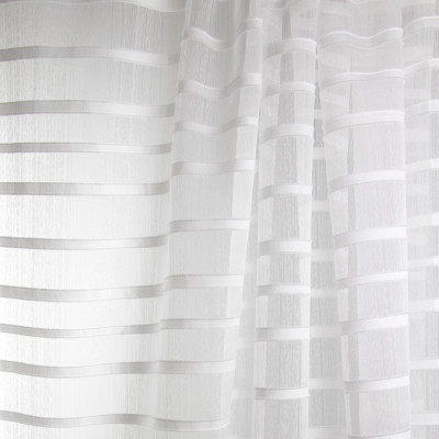 B7935 Ice Fabric: E03, INHERENTLY FIRE RETARDANT, IFR, FIRE RESISTANT, SOLID SHEER, STRIPED SHEER, WOVEN STRIPED SHEER
