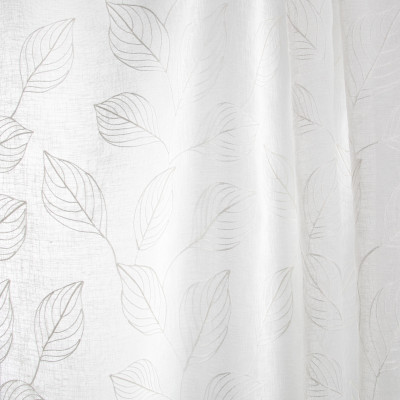 B7939 Parchment Fabric: E03, INHERENTLY FIRE RETARDANT, IFR, FIRE RESISTANT, FOLIAGE, EMBROIDERY, LEAF, SHEER, WINDOW, WHITE, OFF WHITE, SHEER EMBROIDERY, FOLIAGE EMBROIDERY