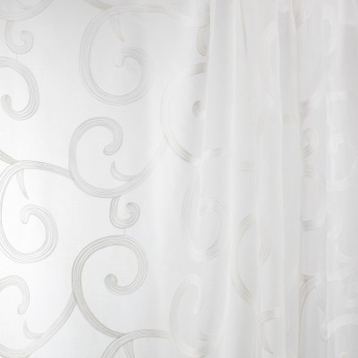 B7941 Quartz Fabric: E03, INHERENTLY FIRE RETARDANT, IFR, FIRE RESISTANT, SCROLL SHEER, EMBROIDERED SCROLL SHEER, SCROLL EMBROIDERY, WHITE SCROLL SHEER