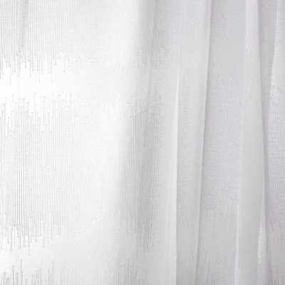 B7945 Bleach Fabric: E03, INHERENTLY FIRE RETARDANT, IFR, FIRE RESISTANT, WHITE, SHEER, WINDOW, STRIPE, CONTEMPORARY