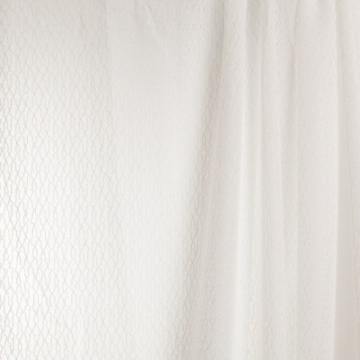 B7946 Shell Fabric: E03, INHERENTLY FIRE RETARDANT, IFR, FIRE RESISTANT, CONTEMPORARY, METALLIC, TEXTURE, SHEER, WINDOW, OFF WHITE