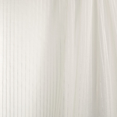 B7950 Parchment Fabric: E03, INHERENTLY FIRE RETARDANT, IFR, FIRE RESISTANT, WHITE WOVEN SHEER, WHITE STRIPED SHEER, SHIMMERY WHITE SHEER