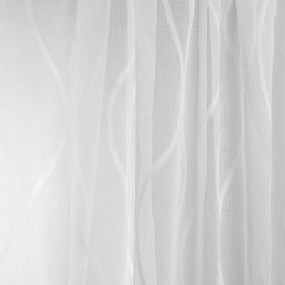 B7951 Platinum Fabric: E03, INHERENTLY FIRE RETARDANT, IFR, FIRE RESISTANT, CONTEMPORARY WAVY SHEER, WAVE, STRIPED SHEER