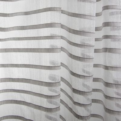 B7983 Steel Fabric: E03, INHERENTLY FIRE RETARDANT, FIRE RESISTANT, IFR, STRIPE, GRAY, TEXTURE, SHEER, WINDOW