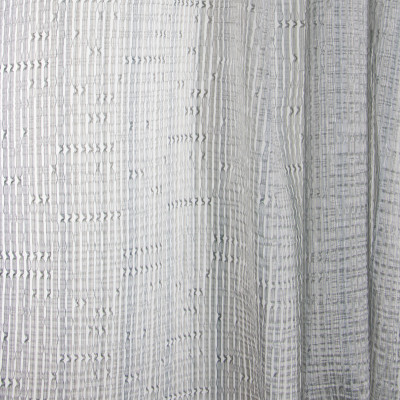 B7987 Vintage Linen Fabric: E03, INHERENTLY FIRE RETARDANT, FIRE RESISTANT, IFR, TEXTURE, STRIPE, GRAY, SHEER, WINDOW