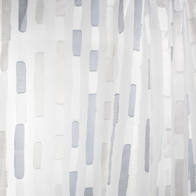 B7989 Mineral Fabric: E03, INHERENTLY FIRE RETARDANT, FIRE RESISTANT, IFR, METALLIC, GRAY, STRIPE, CONTEMPORARY, SHEER, WINDOW