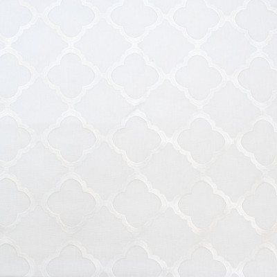 B8004 Ice Fabric: E04, MEDALLION, OGEE, EMBROIDERY, WHITE, FAUX LINEN, WINDOW