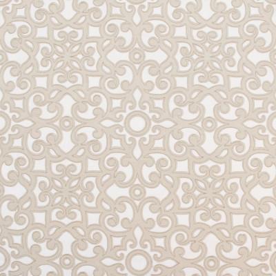 B8026 Natural Fabric: E04, SCROLL, GEOMETRIC, CHAMPAGNE, SATIN, EMBROIDERY, WINDOW, DRAPERY, TEXTURE