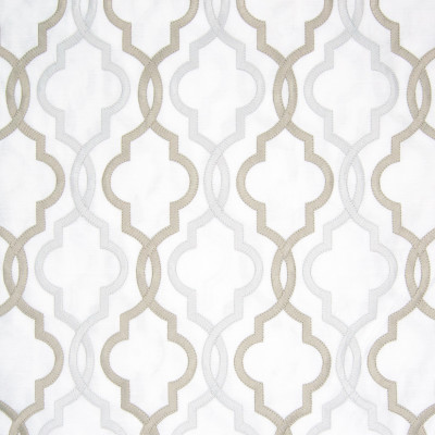 B8030 Ivory Fabric: E04, LATTICE, EMBROIDERY, FAUX LINEN, GEOMETRIC, SATIN, GRAY