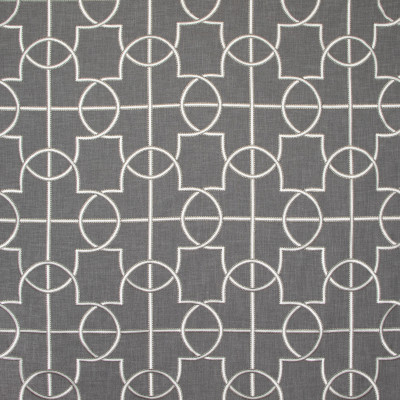 B8035 Charcoal Fabric: E04, EMBROIDERY, FAUX LINEN, TEXTURE, GRAY, WINDOW, DRAPERY, GEOMETRIC, CHARCOAL