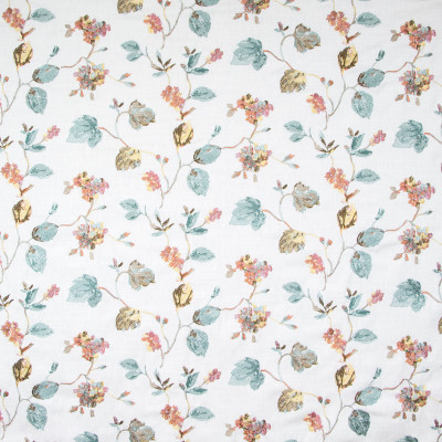 B8119 Bouquet Fabric: E08, E06, FLORAL, EMBROIDERY, MULTI, PINK, BLUE, GOLD, FAUX LINEN, WINDOW, DRAPERY, PINK AND BLUE