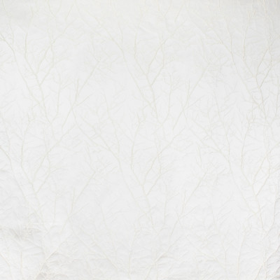 B8127 Linden Fabric: E06, DAMASK, FOLIAGE, TREE, BRANCH, TEXTURE, IVORY, CREAM, SATIN