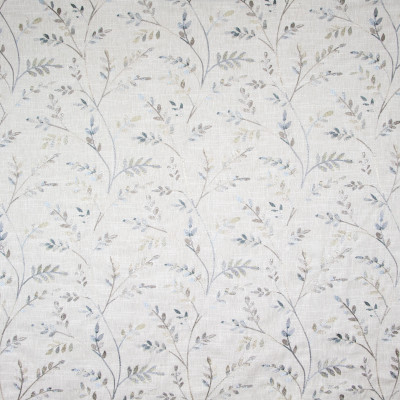 B8142 Flaxen Fabric: E06, LEAFY EMBROIDERY, LEAVES, FLORAL EMBROIDERY, BLUE FLORAL EMBROIDERY,FOLIAGE