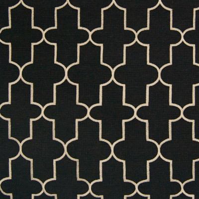 B8210 Onyx Fabric: E07, BLACK EMBROIDERY, BLACK GEOMETRIC, EMBROIDERY, BLACK LATTICE, ONYX EMBROIDERY