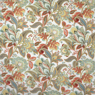B8246 Tapestry Fabric: E08, RED FLORAL PRINT, METALLIC RED FLORAL PRINT, METALLIC ACCENTS, ORANGE FLORAL PRINT, COTTON PRINT