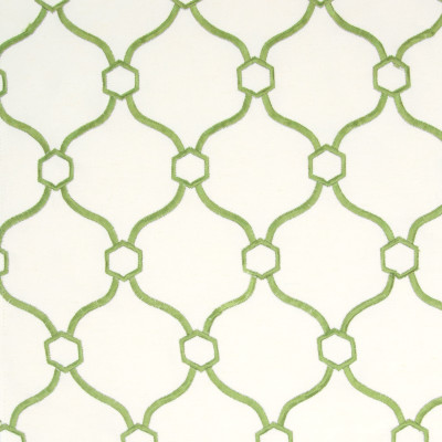 B8304 Grass Fabric: E09, GREEN OGEE, GREEN LATTICE EMBROIDERY, OGEE EMBROIDERY, LATTICE EMBROIDERY