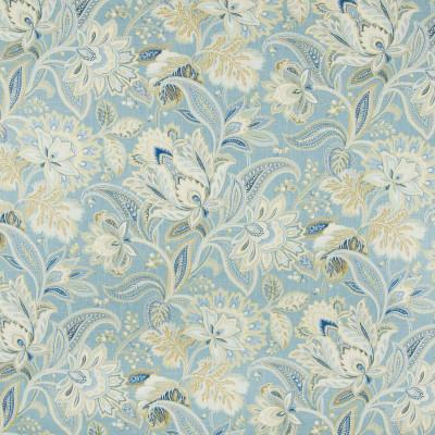 B8320 Porcelain Fabric: E10, LARGE SCALE FLORAL PRINT, BLUE FLORAL PRINT, MEDIUM BLUE FLORAL PRINT, SKY BLUE FLORAL PRINT, METALLIC ACCENTS, JACOBEAN FLORAL PRINT
