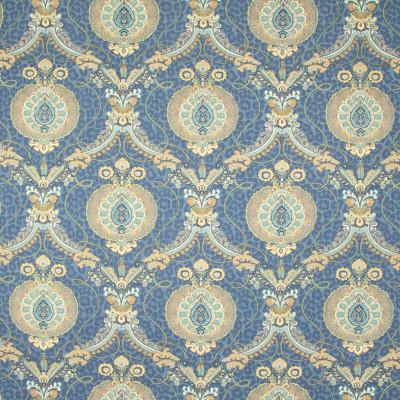 B8339 Prussian Fabric: E10, MEDIUM BLUE MEDALLION PRINT, BLUE MEDALLION PRINT, DARK BLUE COTTON PRINT, MEDIUM SCALE MEDALLION, MEDIUM SCALE FLORAL PRINT, DARK BLUE, INDIGO, LATTICE