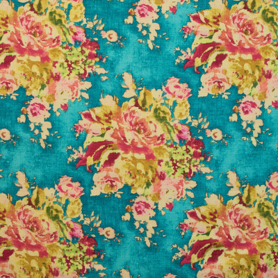B8677 Caribe Fabric: E38, FLORAL BOUQUET, LARGE SCALE FLORAL, FLORAL PRINT, TEAK FLORAL PRINT, TURQUOISE FLORAL PRINT, AQUA FLORAL PRINT
