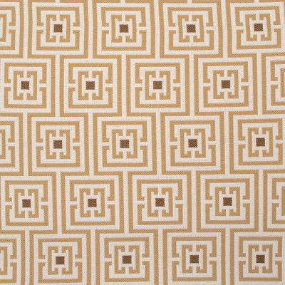 B8856 Toast Fabric: E18, OUTDOOR FABRIC, INDOOR/OUTDOOR FABRIC, OUTDOOR PERFORMANCE FABRIC, BLEACH CLEANABLE, UV RESISTANT, ANTIMICROBIAL, STAIN RESISTANT, GREEK KEY