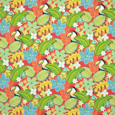 B8899 Fiesta Fabric: E19, STAIN RESISTANT, OUTDOOR FABRIC, INDOOR / OUTDOOR FABRIC, FAMILY FRIENDLY FABRIC, FADE RESISTANT UP TO 500 HOURS OF DIRECT SUN EXPOSURE, PARROT, BIRD, BIRDS, TUCAN, BLUE FLOWER, LEAF, TROPICAL, ISLAND, CORAL
