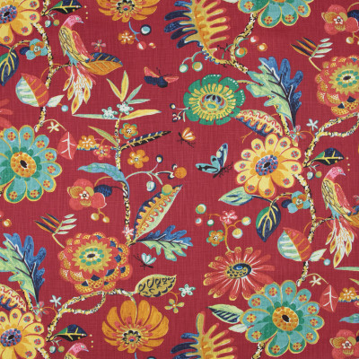 B8925 Red Fabric: E29, LARGE SCALE FLORAL PRINT, RED FLORAL PRINT, BIRD, BIRDS, BIRD PRINT, COTTON PRINT, BRIGHTLY COLORED FLORAL PRINT, MULTICOLORED FLORAL PRINT, WHIMSICAL PRINT